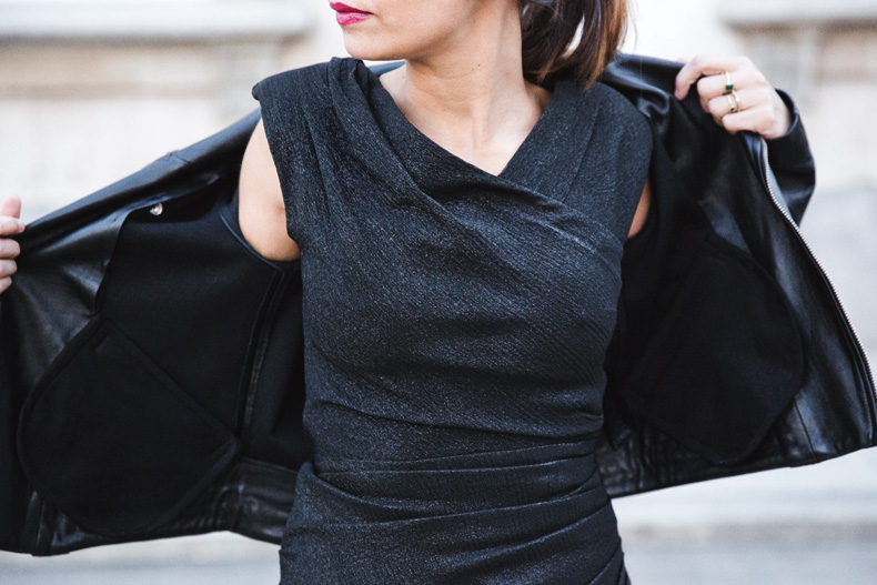 Maje_Evening_Capsule-Outfit-Drapped_Dress-Biker_Jacket-Collage_Vintage-Night_Look-69