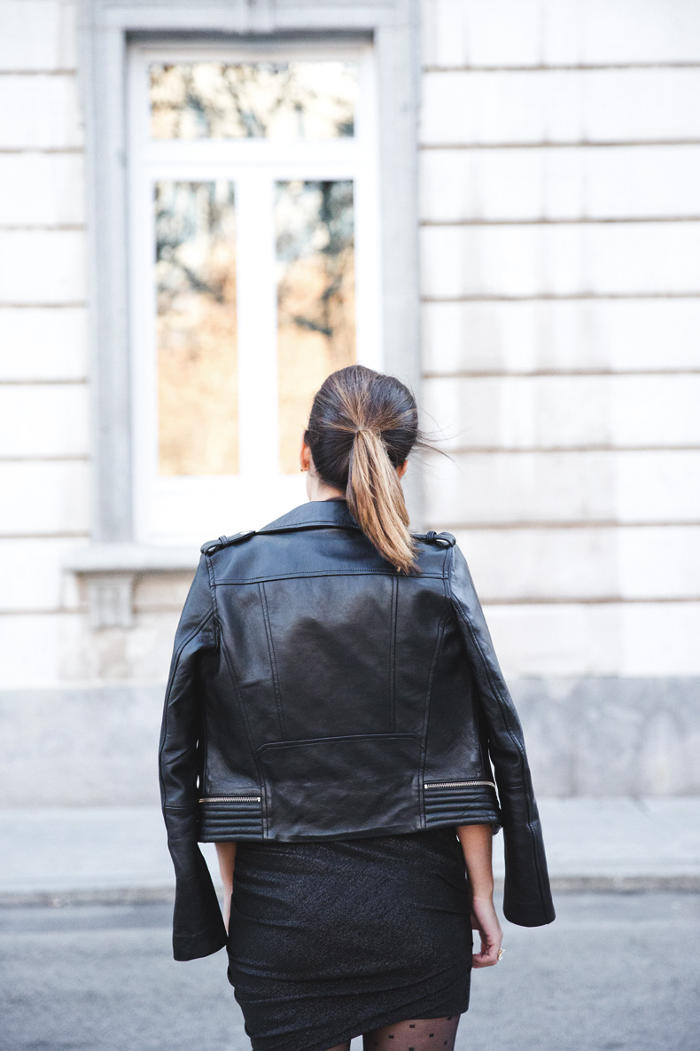 Maje_Evening_Capsule-Outfit-Drapped_Dress-Biker_Jacket-Collage_Vintage-Night_Look-7