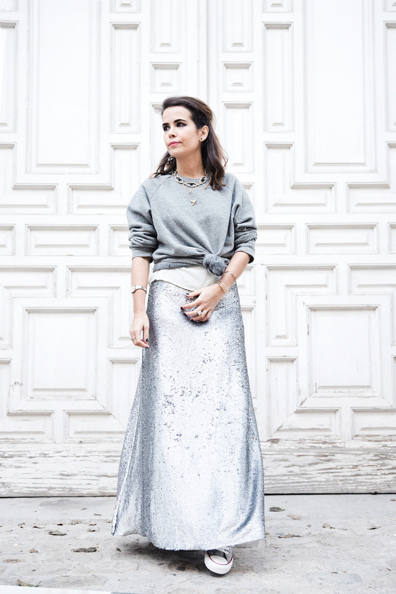 Sequined_Maxi_Skirt-Casual_Party_Outfit-Sweatshirt-Converse-Urban_Outfitters-Collage_Vintage-40Karen_Millen-Chrismas_Wishlist-Collage_Vintage-Leather_Skirt-Burgundy_Bag-Silver_Blazer-Outfit-Street_Style-