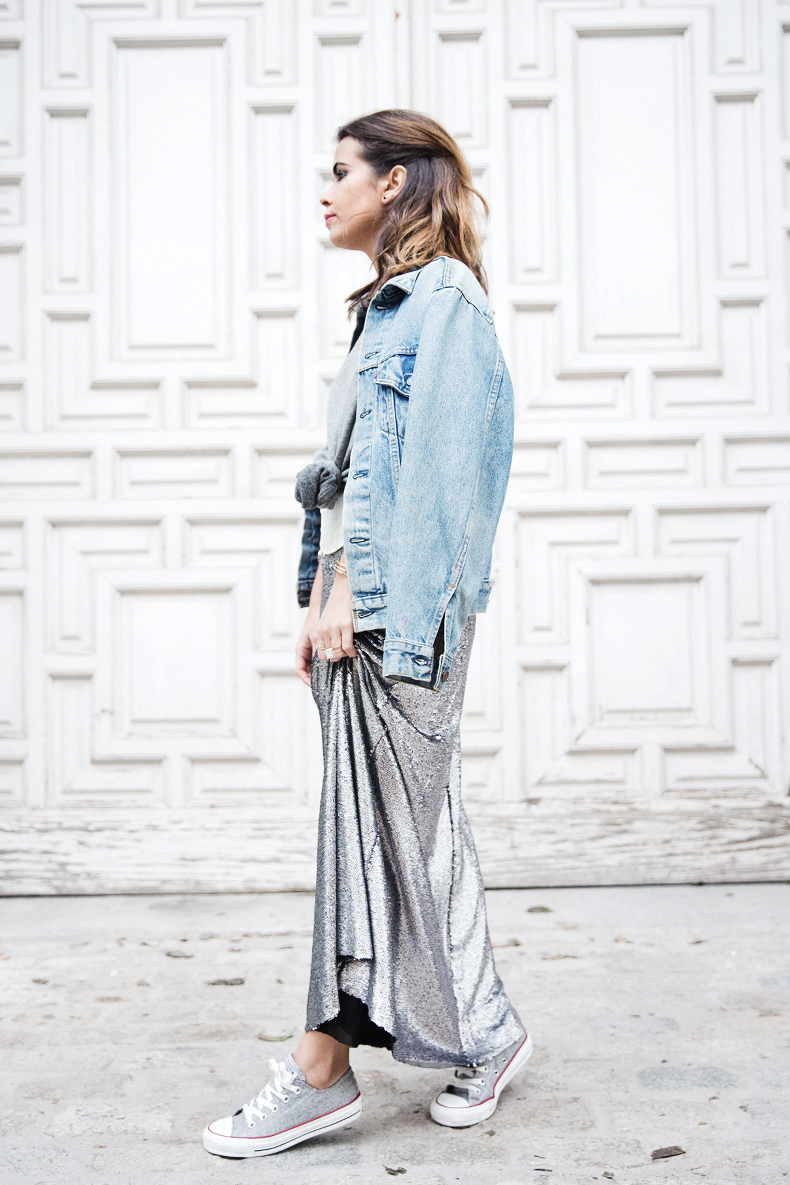 Sequined_Maxi_Skirt-Casual_Party_Outfit-Sweatshirt-Converse-Urban_Outfitters-Collage_Vintage-5Karen_Millen-Chrismas_Wishlist-Collage_Vintage-Leather_Skirt-Burgundy_Bag-Silver_Blazer-Outfit-Street_Style-