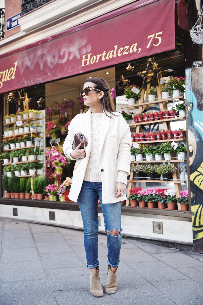 White_Coat-Knitted_Jumper-Maje-Ripped_Jeans-Outfit-Street_Style-8