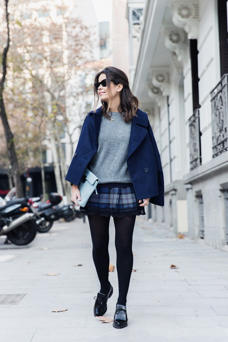 Checked_Skirt-Cashmere_Sweater-Navy_Jacket-Loafers-Outfit-Street_Style-Collage_Vintage-19