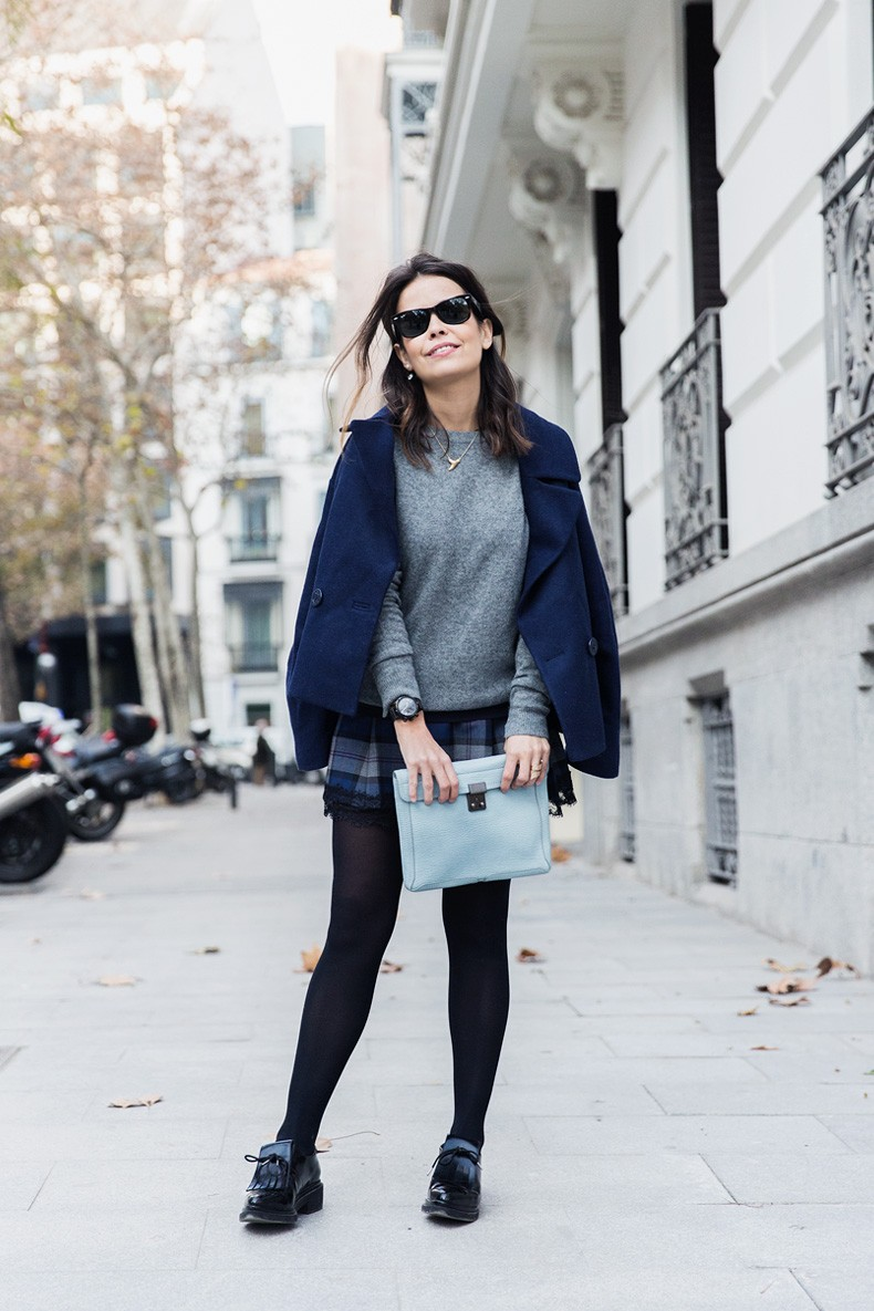 Checked_Skirt-Cashmere_Sweater-Navy_Jacket-Loafers-Outfit-Street_Style-Collage_Vintage-22