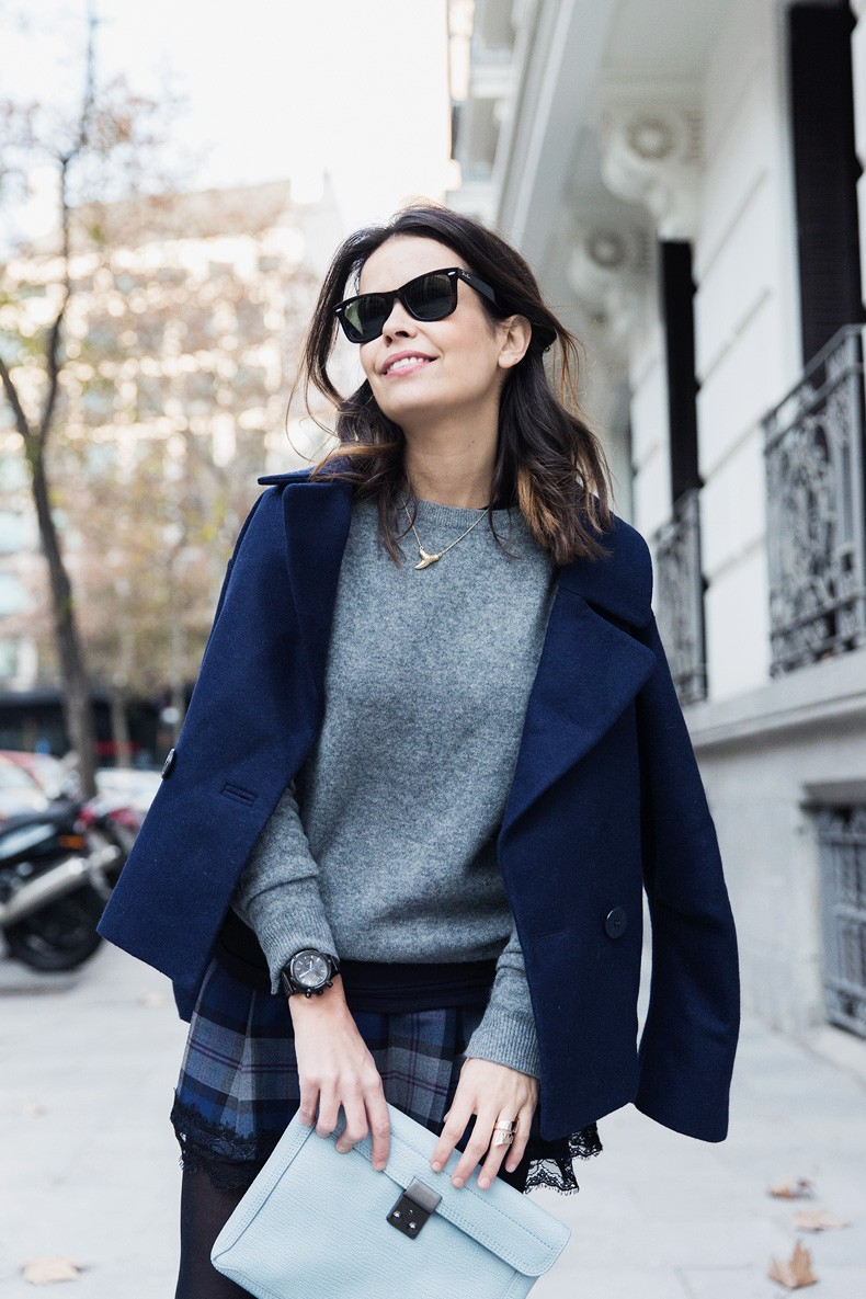 Checked_Skirt-Cashmere_Sweater-Navy_Jacket-Loafers-Outfit-Street_Style-Collage_Vintage-27