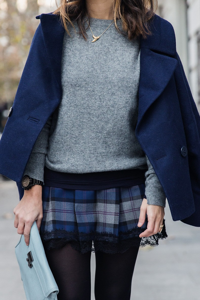 Checked_Skirt-Cashmere_Sweater-Navy_Jacket-Loafers-Outfit-Street_Style-Collage_Vintage-28
