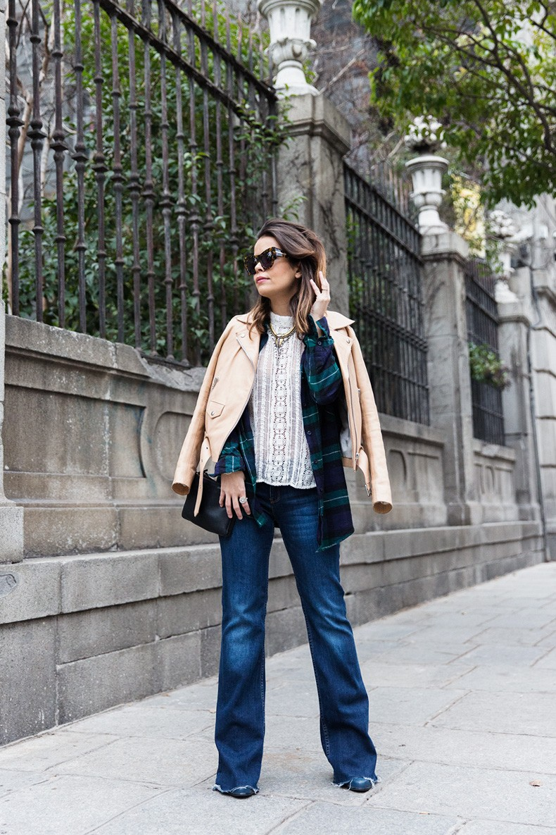 Flared_Jeans-Outfit-Checked_Skirt-Street_Style-Leather_Biker_Jacket-Sandro_Paris-Lace_Top-Collage_Vintage-10