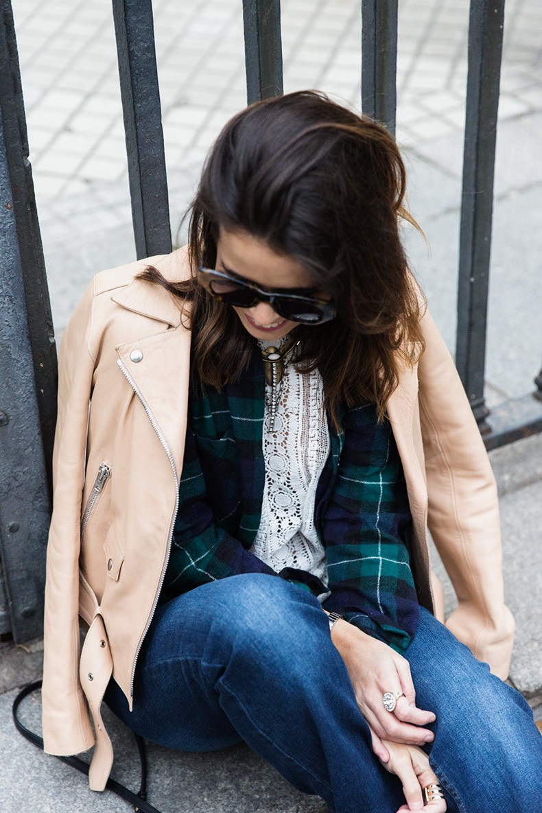 Flared_Jeans-Outfit-Checked_Skirt-Street_Style-Leather_Biker_Jacket-Sandro_Paris-Lace_Top-Collage_Vintage-24