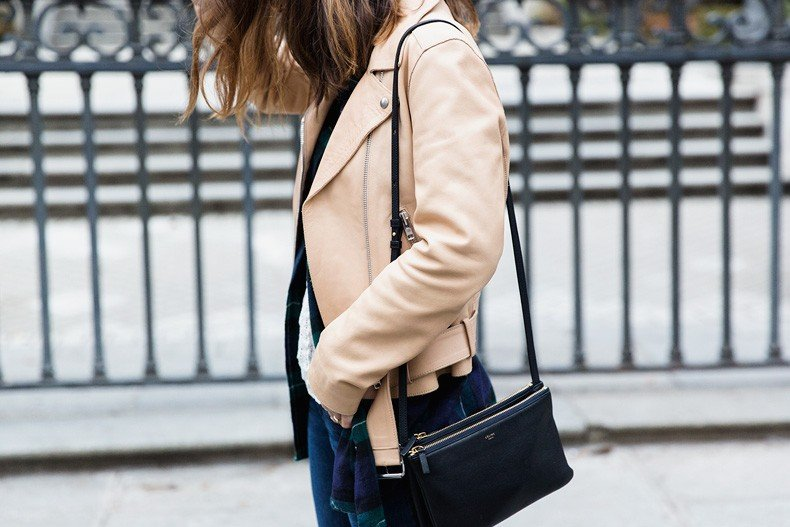 Flared_Jeans-Outfit-Checked_Skirt-Street_Style-Leather_Biker_Jacket-Sandro_Paris-Lace_Top-Collage_Vintage-30