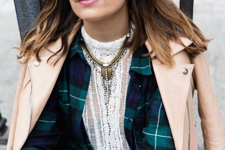 Flared_Jeans-Outfit-Checked_Skirt-Street_Style-Leather_Biker_Jacket-Sandro_Paris-Lace_Top-Collage_Vintage-42