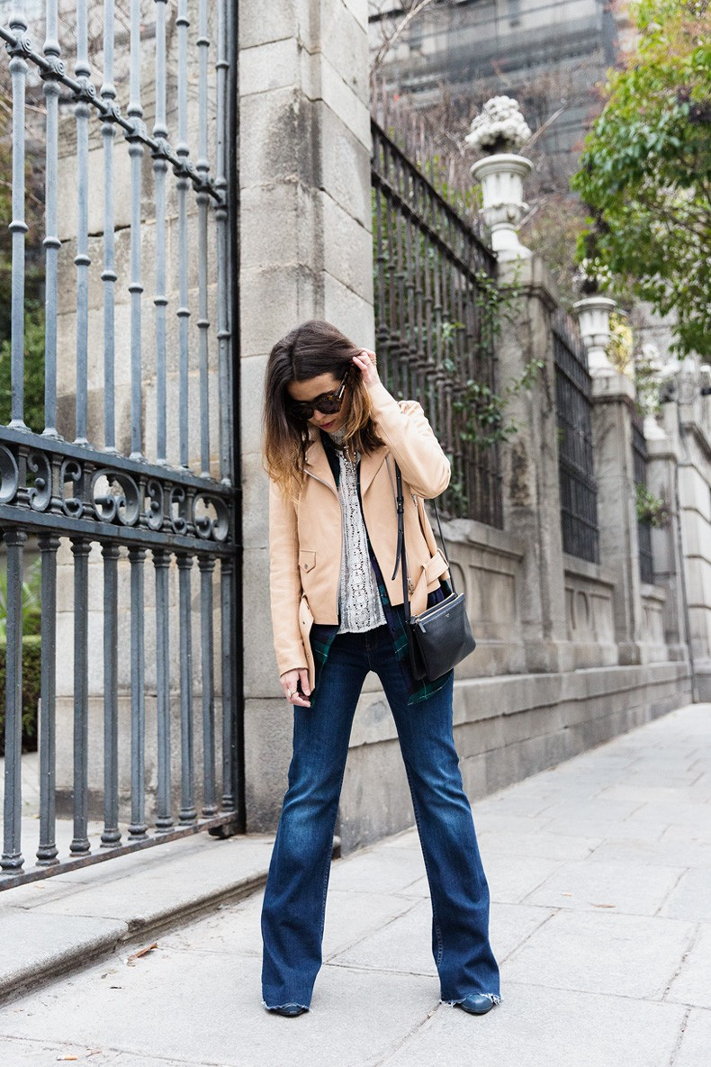 Flared_Jeans-Outfit-Checked_Skirt-Street_Style-Leather_Biker_Jacket-Sandro_Paris-Lace_Top-Collage_Vintage-6