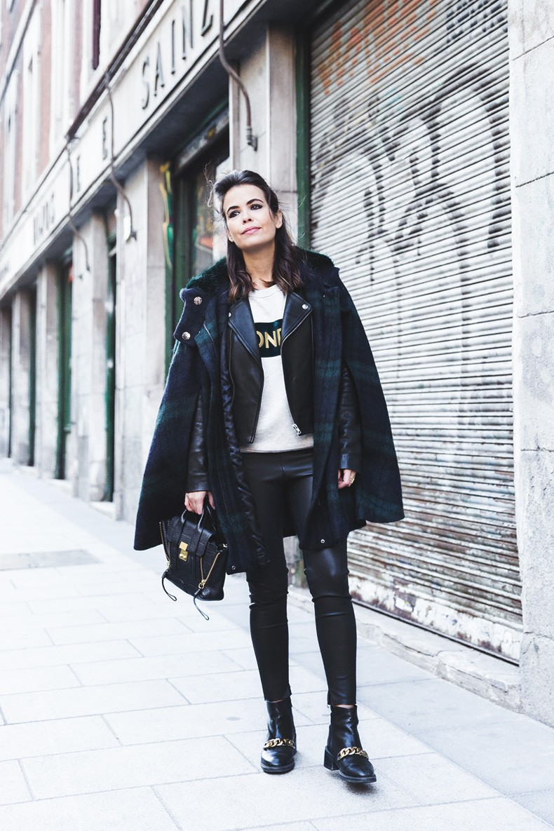 Plaid_Cape-Leather_Jacket-Sandro-Wonder_Sweatshirt-Chained_Boots-Outfit-Collage_Vintage-3