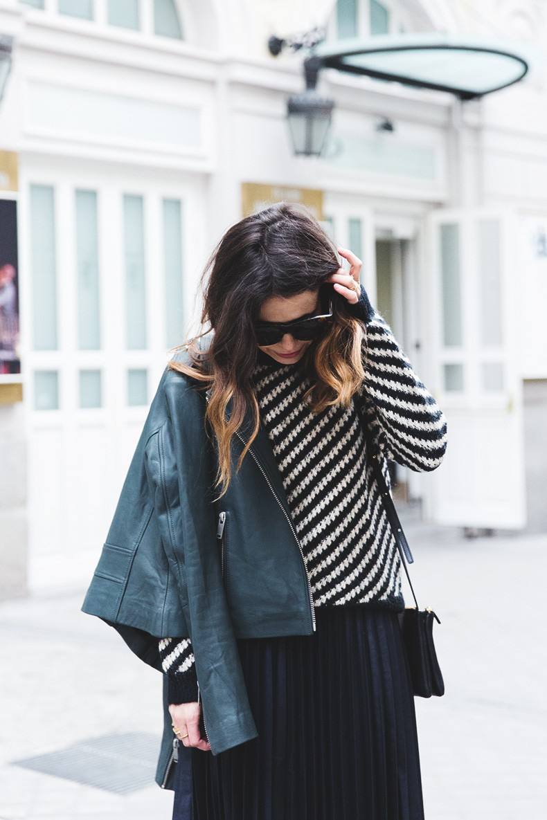 Pleated_Skirt-Striped_Sweater-APC_Paris-Green_Biker_Jacket-Reiss_Fashion-Outfit-Street_Style-25