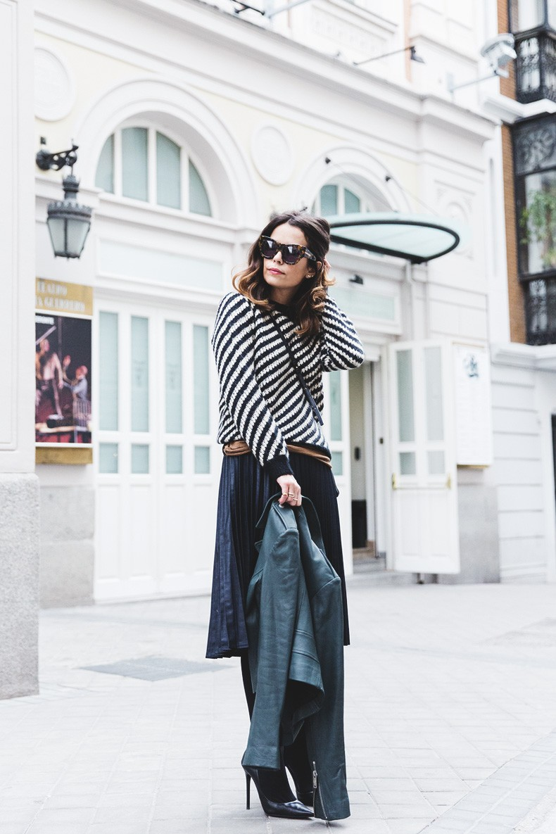 Pleated_Skirt-Striped_Sweater-APC_Paris-Green_Biker_Jacket-Reiss_Fashion-Outfit-Street_Style-28