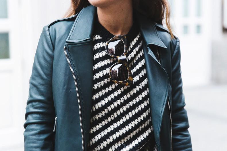 Pleated_Skirt-Striped_Sweater-APC_Paris-Green_Biker_Jacket-Reiss_Fashion-Outfit-Street_Style-47