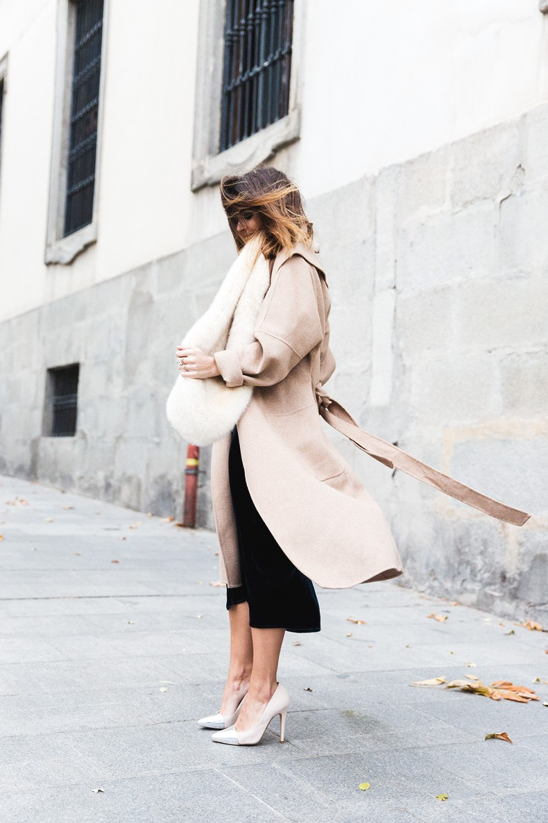 Velvet_Dress-Faux_Fur_Scarf-Party_Outfit-Street_Style-Collage_Vintage-