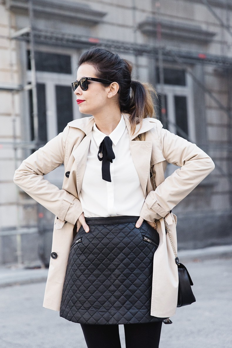 White_Shirt-Black_Bow-Leather_Skirt-Trench_Coat-Forever_21_Madrid-Outfit-Street_Style-Collage_Vintage-17
