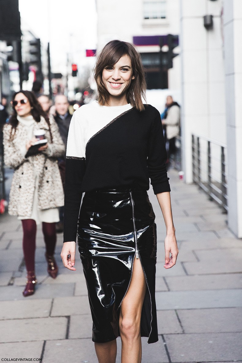 London_Fashion_Week_Fall_Winter_2015-Street_Style-LFW-Collage_Vintage-Alexa_Chung-Zipper_Pencil_Skirt-Black_And_White-3