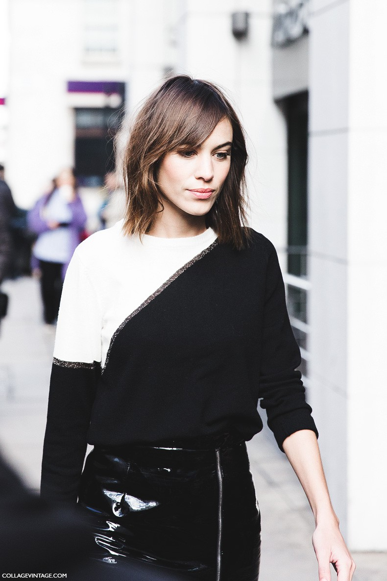 London_Fashion_Week_Fall_Winter_2015-Street_Style-LFW-Collage_Vintage-Alexa_Chung-Zipper_Pencil_Skirt-Black_And_White-4