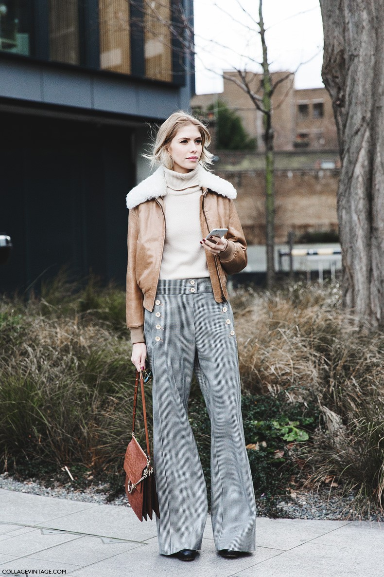 London_Fashion_Week_Fall_Winter_2015-Street_Style-LFW-Collage_Vintage-Elena_Perminova_Chloe-Aviator_Jacket-Flared_Trousers-1
