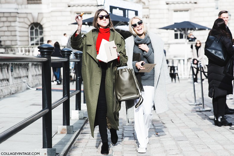London_Fashion_Week_Fall_Winter_2015-Street_Style-LFW-Collage_Vintage-Friends-Oversize_Coat-White_Pants-Grey_Coat-1