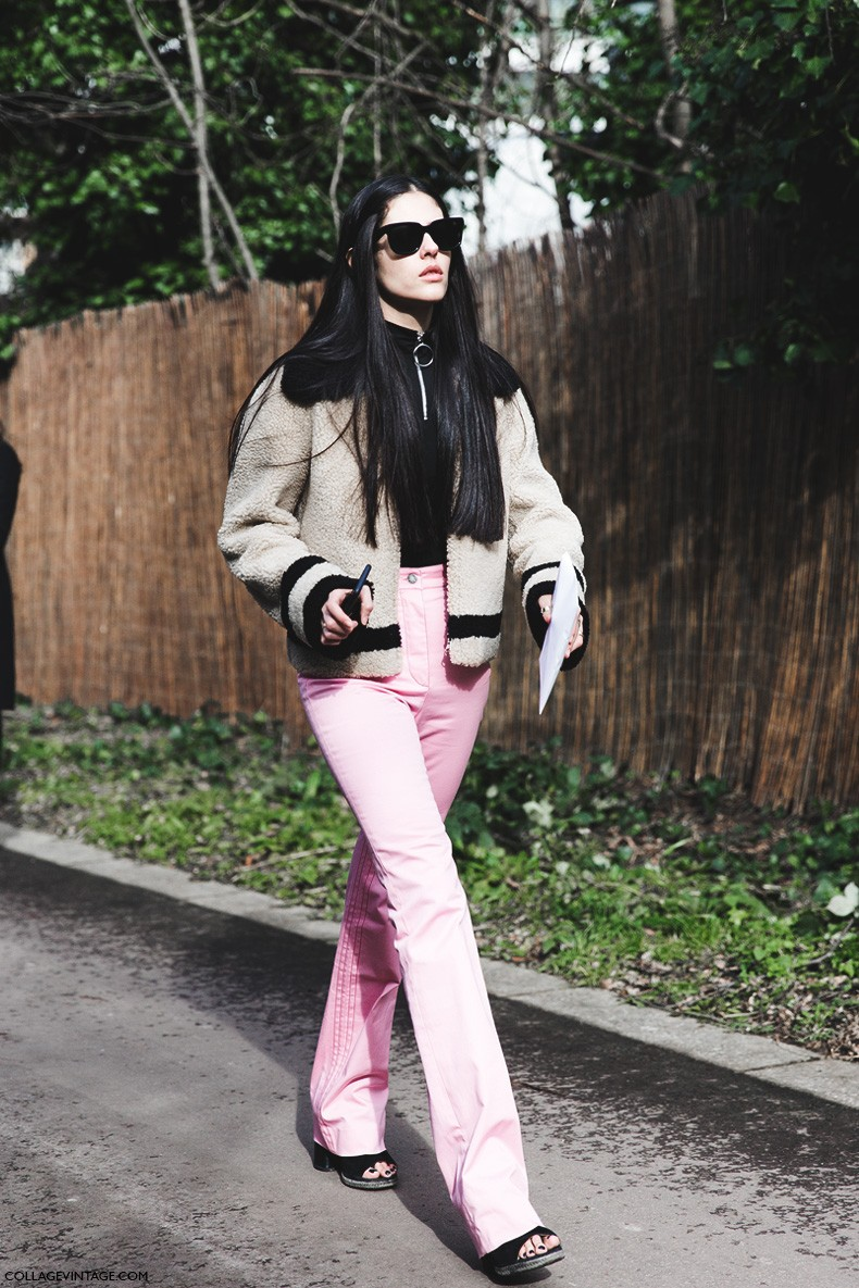 London_Fashion_Week_Fall_Winter_2015-Street_Style-LFW-Collage_Vintage-Gilda-Shearling_Coat-Pink_Trousers-
