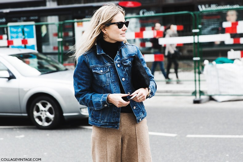 London_Fashion_Week_Fall_Winter_2015-Street_Style-LFW-Collage_Vintage-Lucy_Williams_Denim_Jacket-Culotte_trousers-Snake_Boots-1