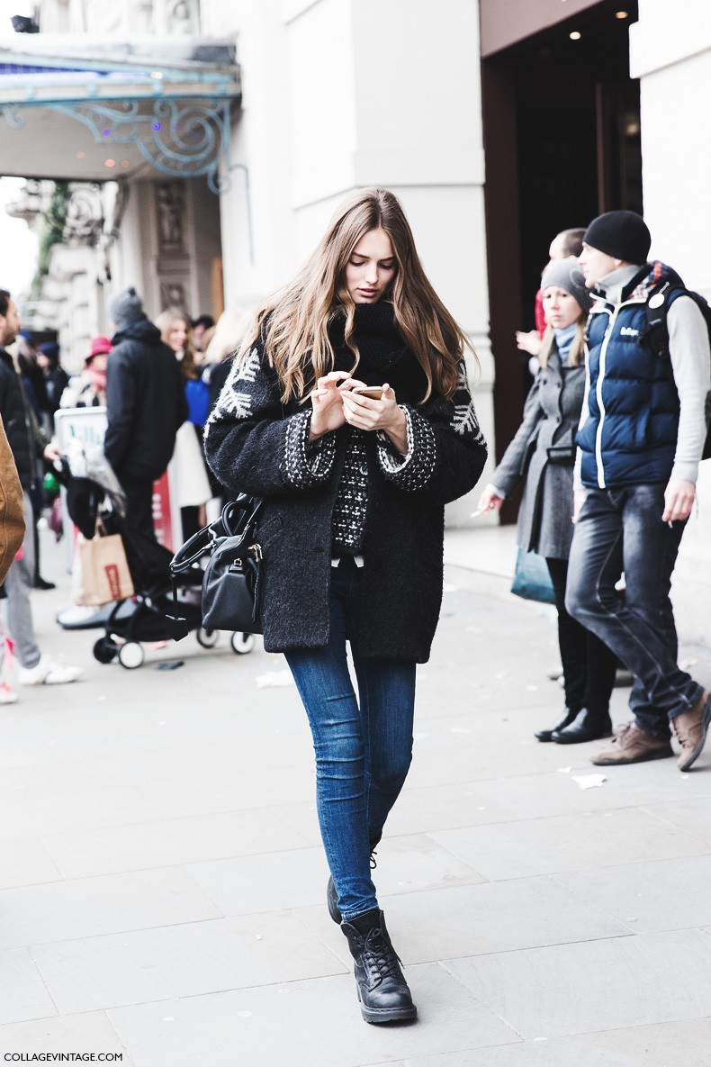 London_Fashion_Week_Fall_Winter_2015-Street_Style-LFW-Collage_Vintage-MOdel_Snow_Cardigan-Dr_Martens-