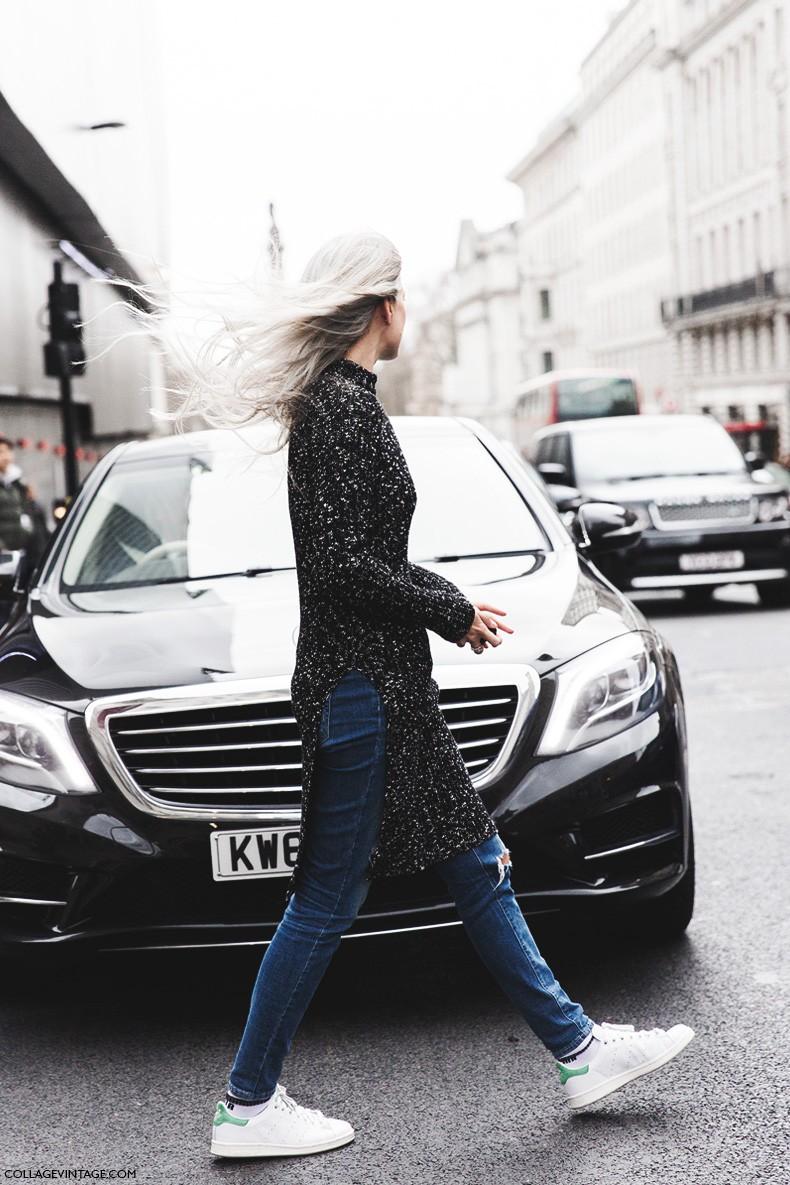 London_Fashion_Week_Fall_Winter_2015-Street_Style-LFW-Collage_Vintage-Sarah_Ruston_Stan_Smith_Jeans-1