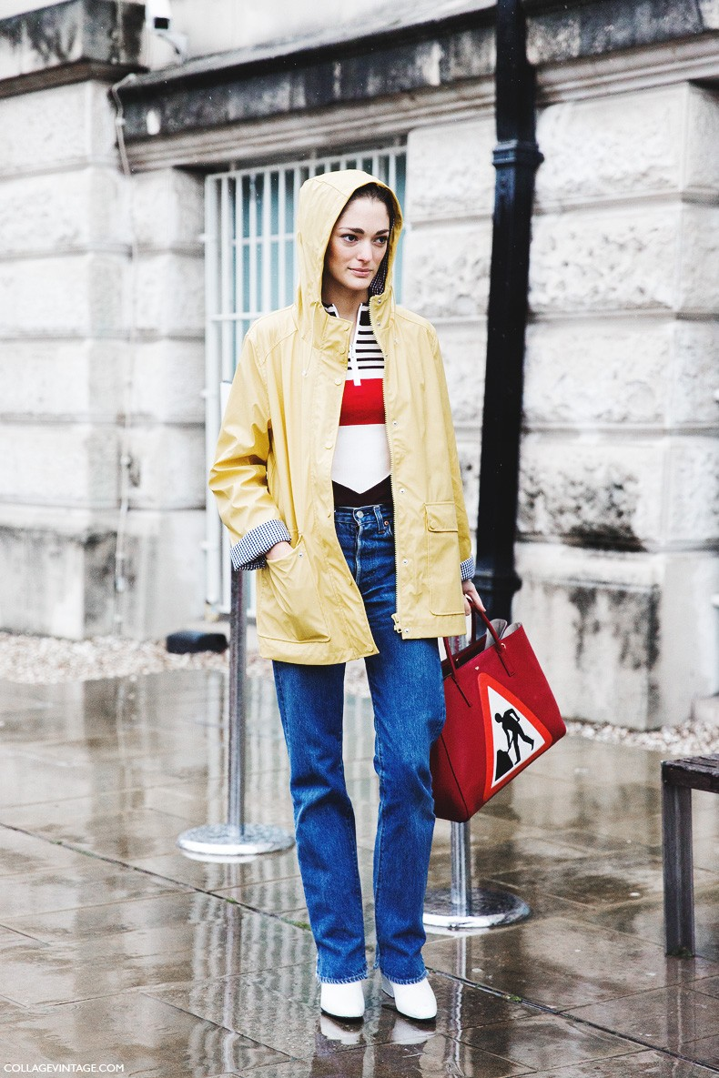 London_Fashion_Week_Fall_Winter_2015-Street_Style-LFW-Collage_Vintage-Sofia_Sanchez-Red_Bag-Yellow_Rainy_Coat-3