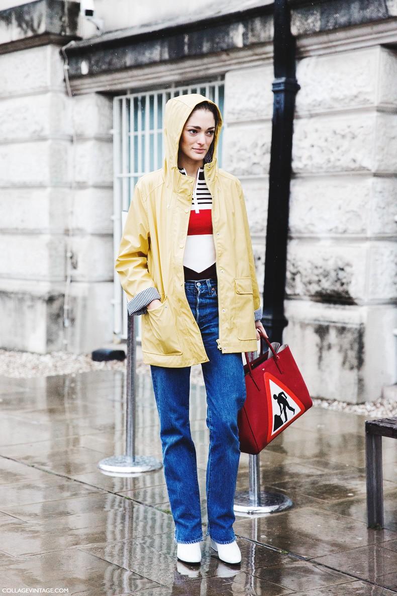 London_Fashion_Week_Fall_Winter_2015-Street_Style-LFW-Collage_Vintage-Sofia_Sanchez-Red_Bag-Yellow_Rainy_Coat-3