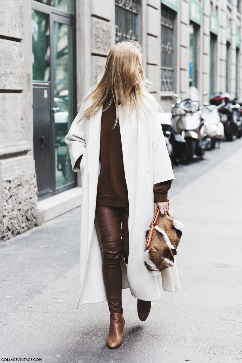 Milan_Fashion_Week-Fall_Winter_2015-Street_Style-MFW-Ada_Kokosar-Maxi_White_coat-Brown_Outfit-1