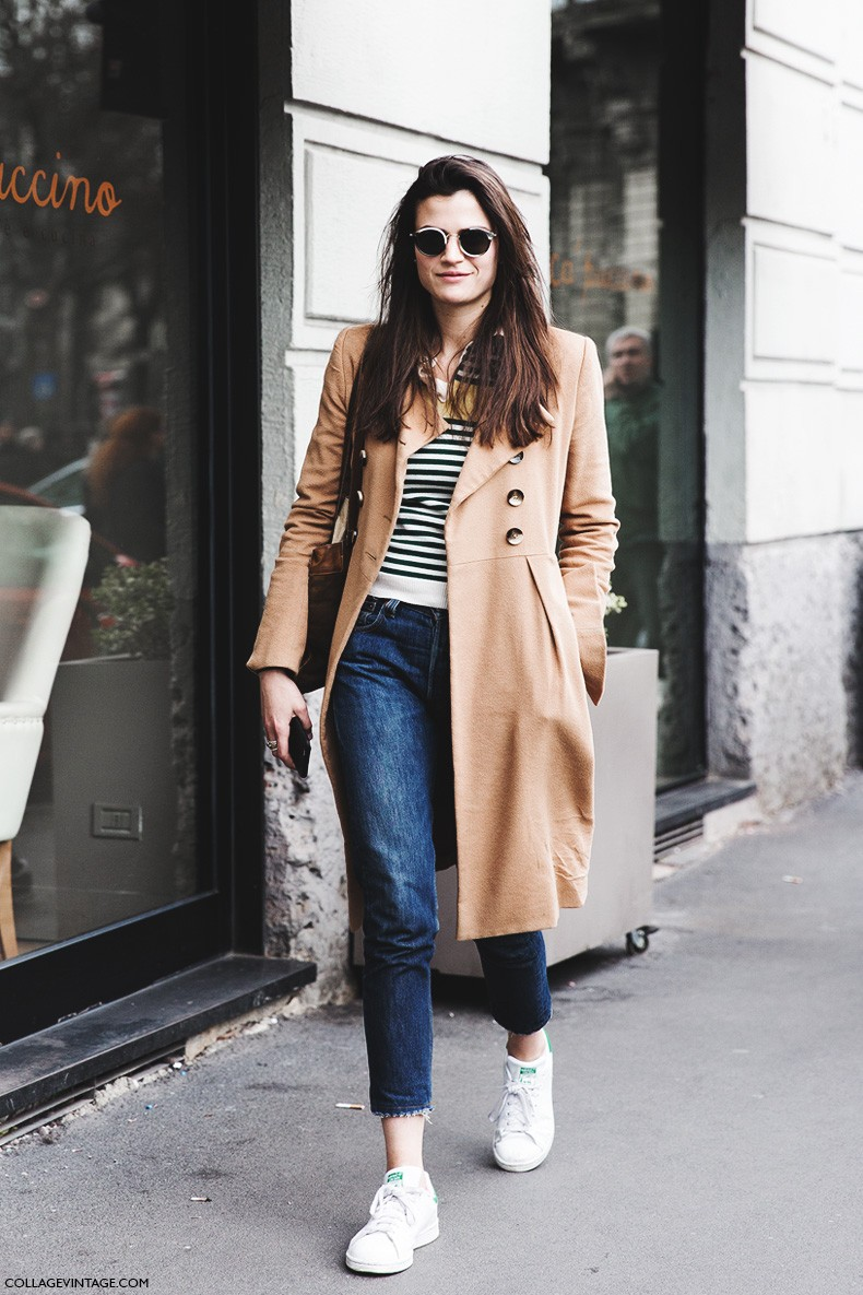 Milan_Fashion_Week-Fall_Winter_2015-Street_Style-MFW-Alessandra_Codinha-Beige_Coat-Levis-Stan_Smith-