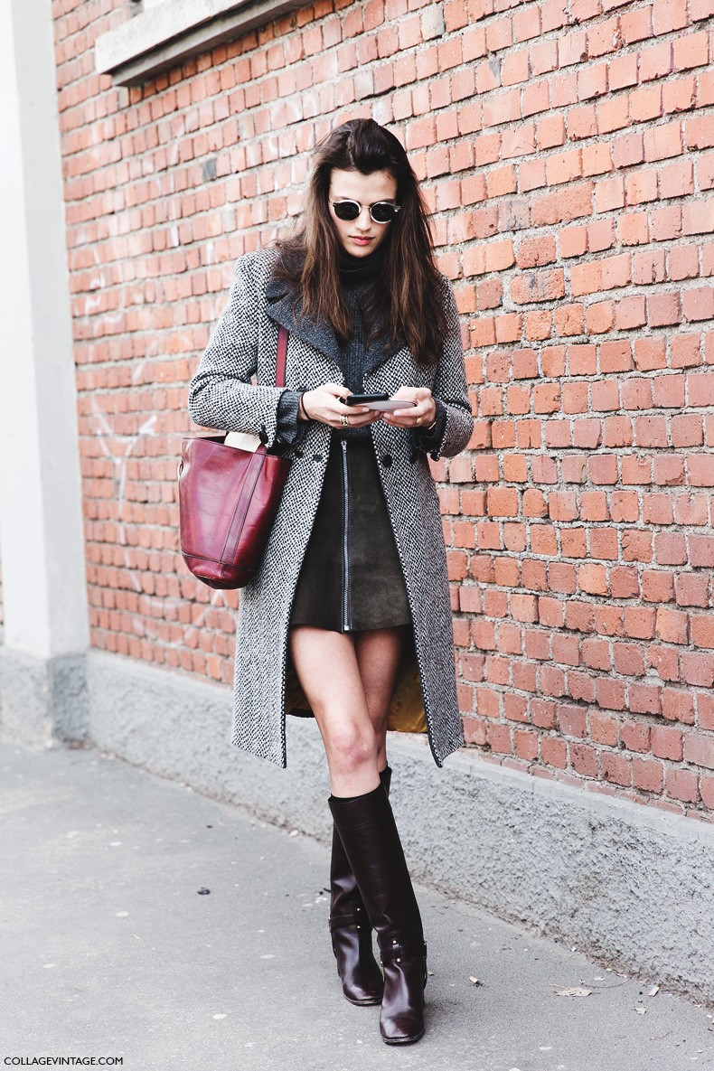 Milan_Fashion_Week-Fall_Winter_2015-Street_Style-MFW-Alessandra_Codinha-Zipper_Suede_Skirt-Tweed_Coat-High_Boots-1