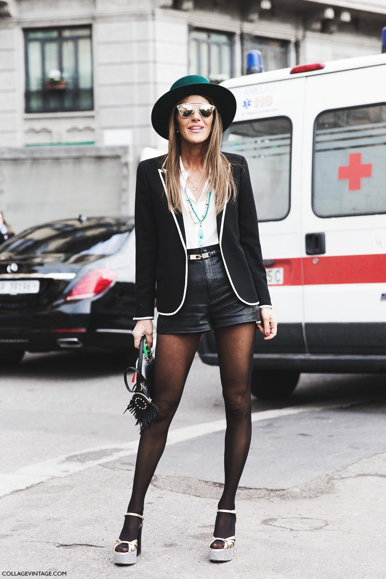 Milan_Fashion_Week-Fall_Winter_2015-Street_Style-MFW-Anna_Dello_Russo-Shorts-Hat-Gucci-2