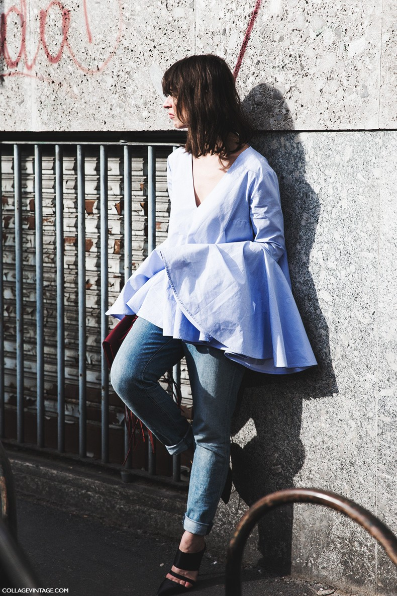 Milan_Fashion_Week-Fall_Winter_2015-Street_Style-MFW-Blue_Shirt-Flared_Sleeves-