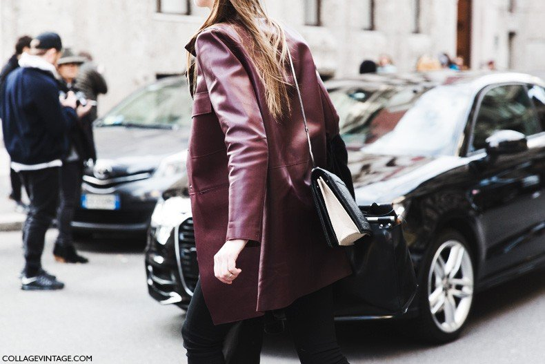Milan_Fashion_Week-Fall_Winter_2015-Street_Style-MFW-Burgundy_Leather_Coat-