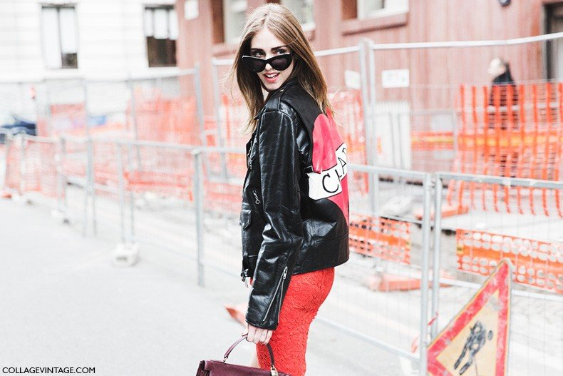 Milan_Fashion_Week-Fall_Winter_2015-Street_Style-MFW-Chiara_Ferragni-Valentino_Red_Dress-Leather_Jacket-1