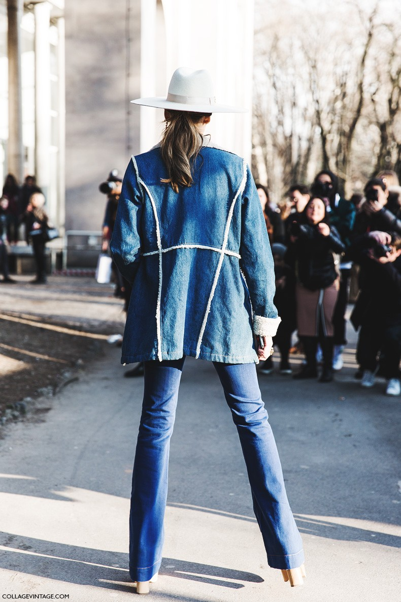 Milan_Fashion_Week-Fall_Winter_2015-Street_Style-MFW-Chiara_Ferragni_Western-Flared_Jeans-Lack_Of_Colors_Hat-1