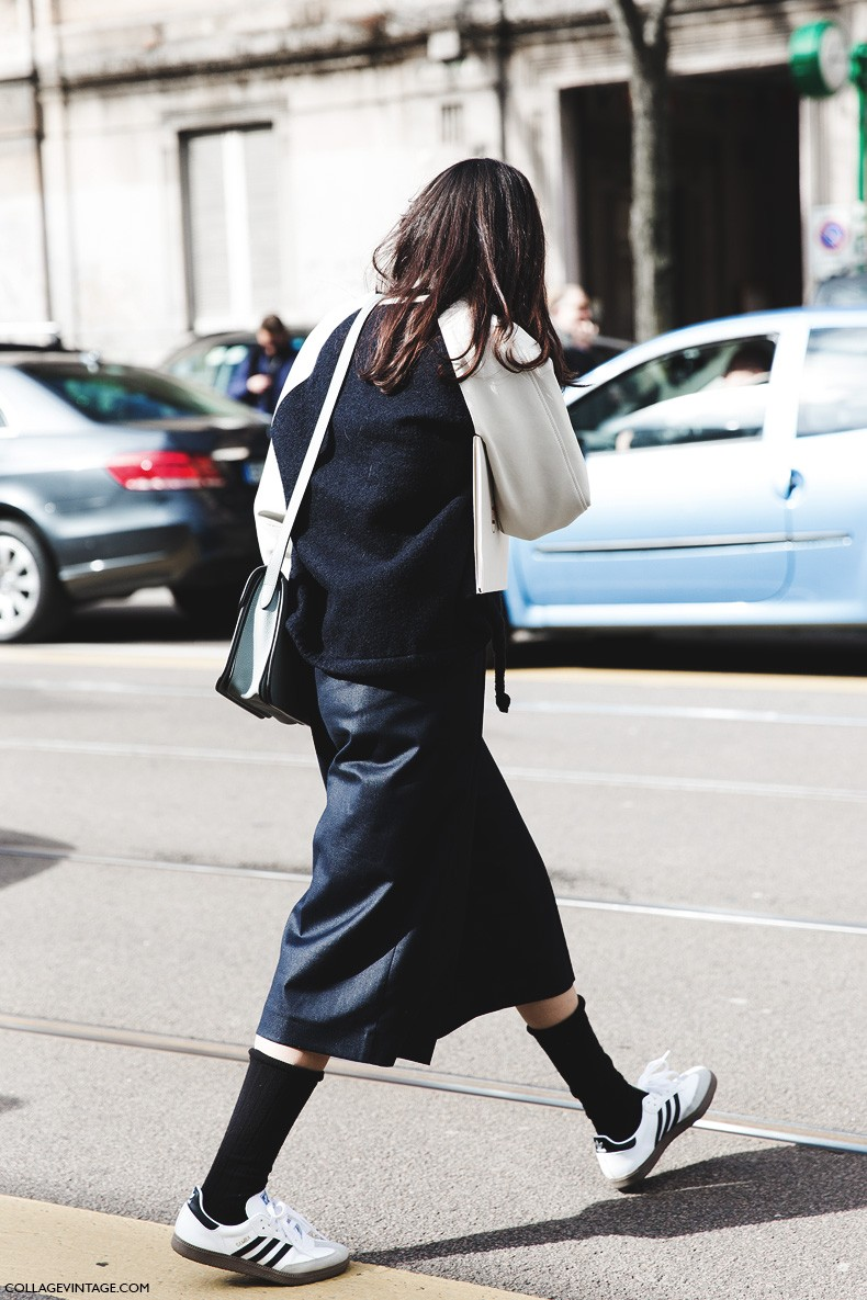 Milan_Fashion_Week-Fall_Winter_2015-Street_Style-MFW-Culottes-Bomber_Jacket-Adidas-