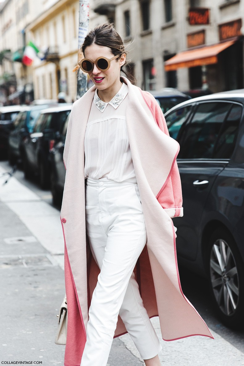 Milan_Fashion_Week-Fall_Winter_2015-Street_Style-MFW-Dans_Vogue-Pink_Coat-Ballerinas-1