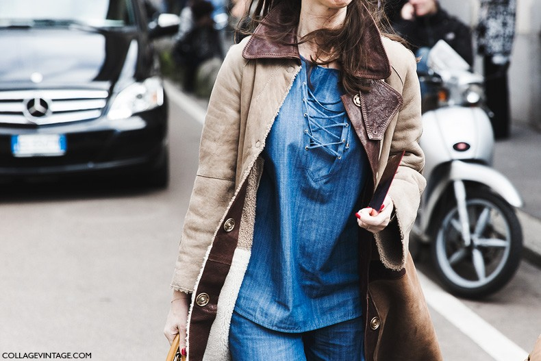 Milan_Fashion_Week-Fall_Winter_2015-Street_Style-MFW-Denim-Suede_Coat-