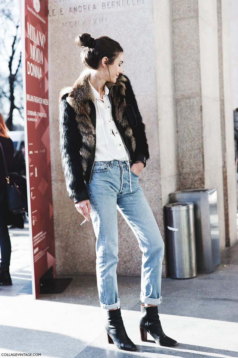 Milan_Fashion_Week-Fall_Winter_2015-Street_Style-MFW-Diletta_Bonaiutti-Levis_Fur_Bomber_Jacket-5