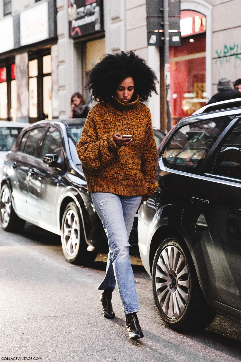 Milan_Fashion_Week-Fall_Winter_2015-Street_Style-MFW-Julia_Sarr_Jamois-Levis-Louis_Vuitton_Booties-