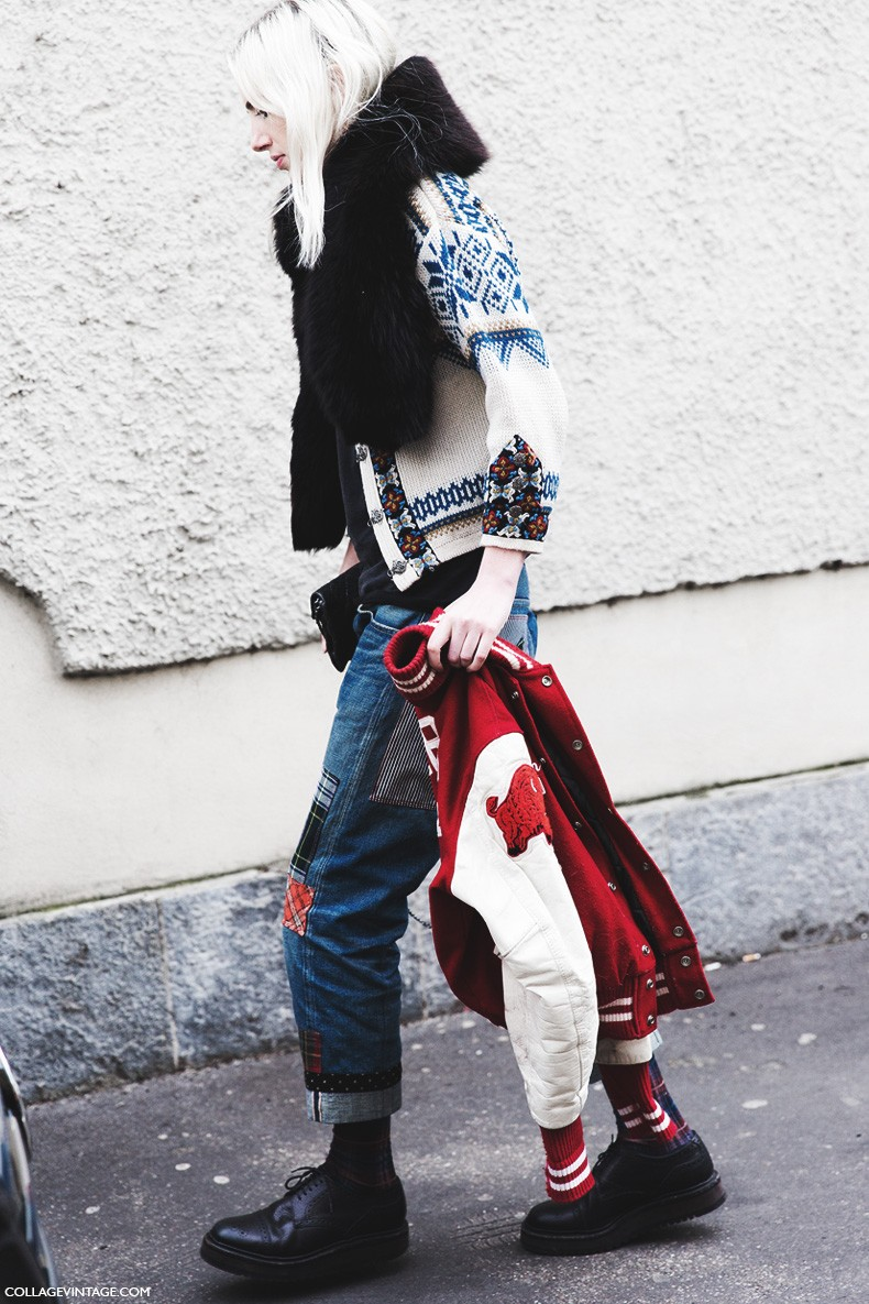 Milan_Fashion_Week-Fall_Winter_2015-Street_Style-MFW-Layers-Patchwok_jeans-Marc_By-MArc_Top-2