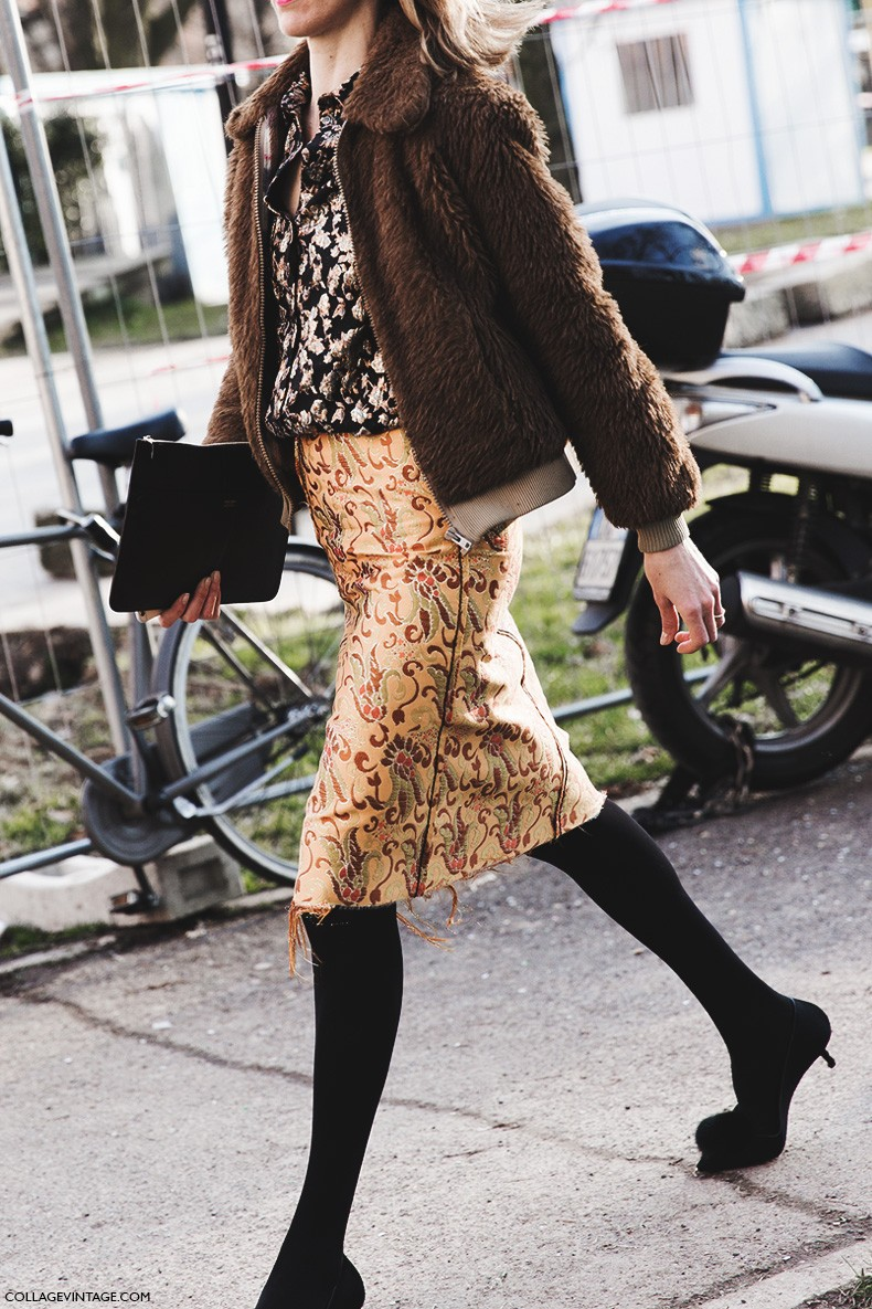 Milan_Fashion_Week-Fall_Winter_2015-Street_Style-MFW-Mixing_Patterns-Pencil_Skirt-Fur_Coat-