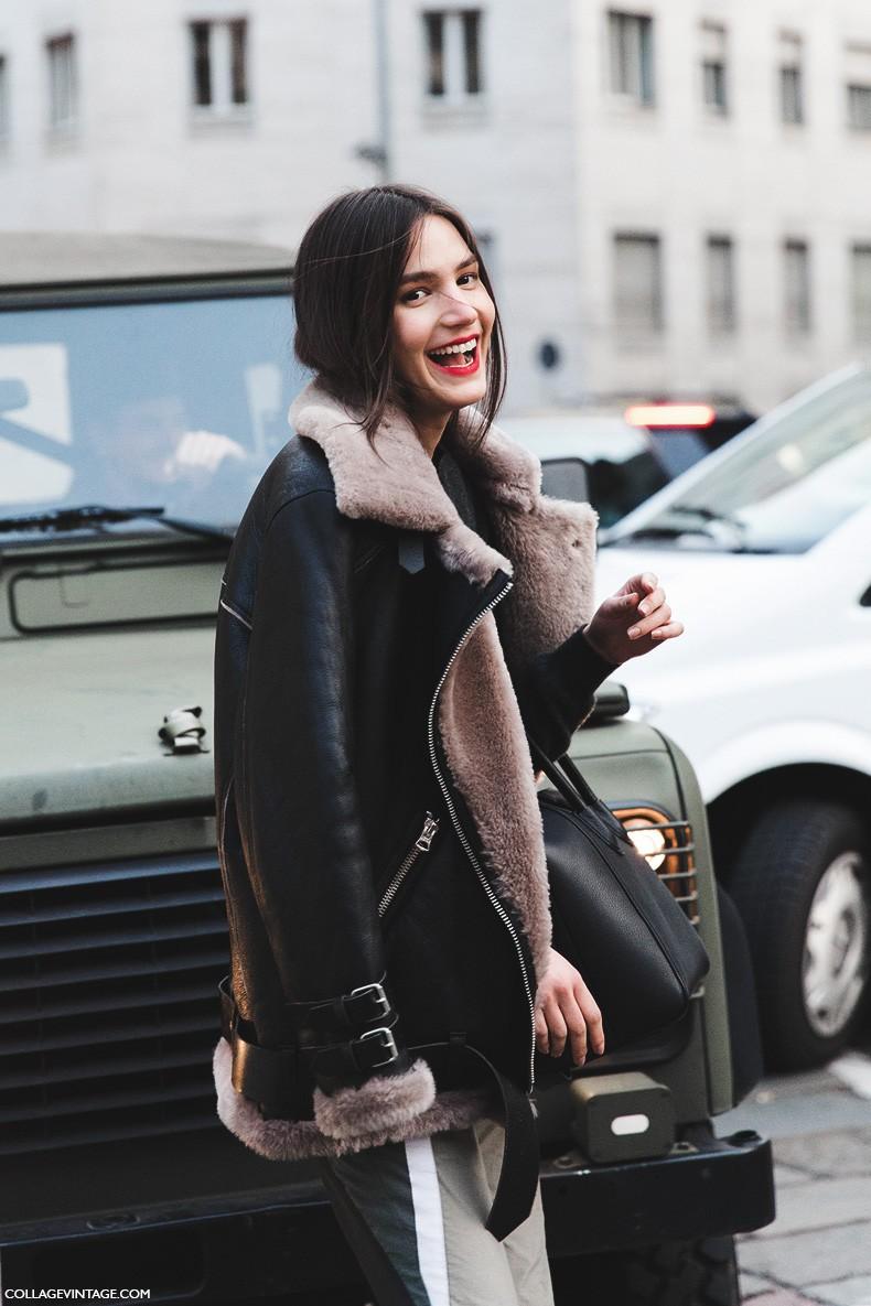 Milan_Fashion_Week-Fall_Winter_2015-Street_Style-MFW-Model-Tops-Balenciaga_Boots-Shearling_Jacket-2