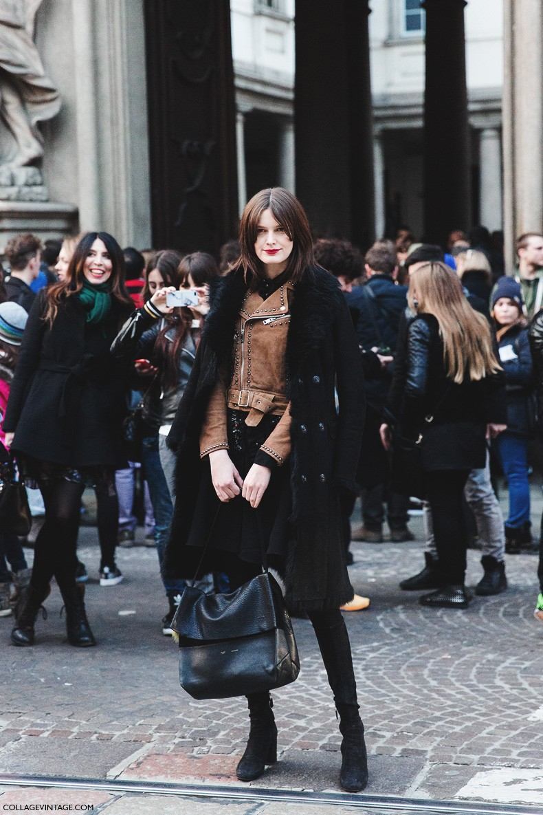 Milan_Fashion_Week-Fall_Winter_2015-Street_Style-MFW-Model_Tods-Biker_Jacket-Fur_Coat-