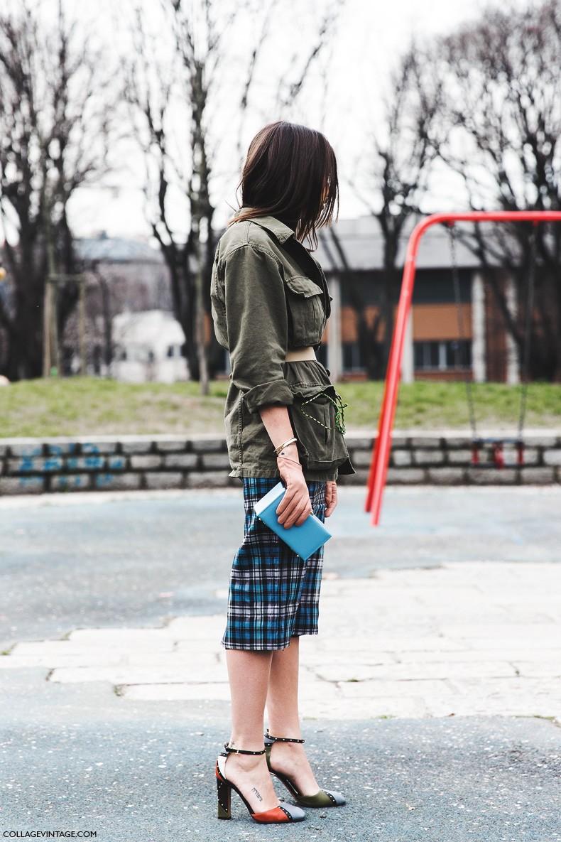 Milan_Fashion_Week-Fall_Winter_2015-Street_Style-MFW-Natasha_Goldenberg-Valentino_Shoes-Checked_Skirt-Parka-5