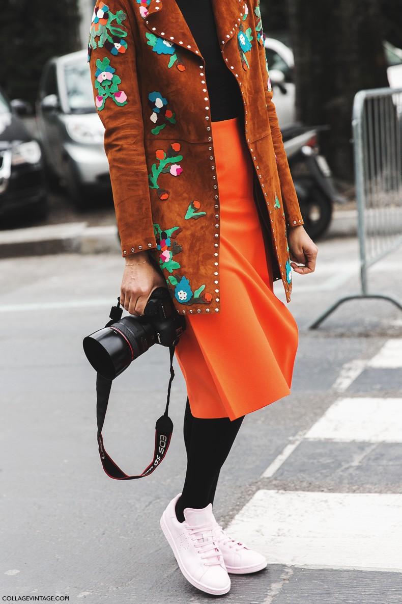 Milan_Fashion_Week-Fall_Winter_2015-Street_Style-MFW-Tamu-Etnich_Jacket-Orange_Skirt-