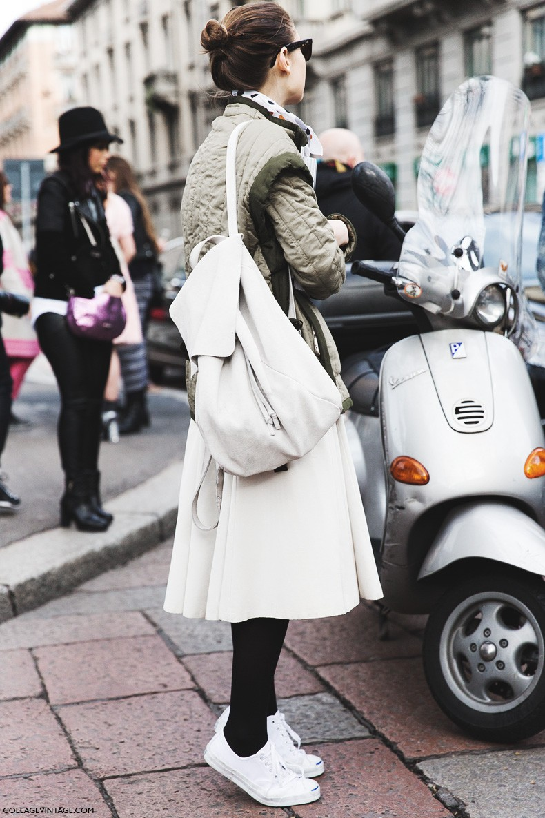 Milan_Fashion_Week-Fall_Winter_2015-Street_Style-MFW-White_Midi_Skirt-Scarf-Sneakers-